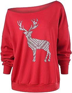 Sudadera Mujer Navidad, LANSKIRT Señoras Pullover con Estampadas de Alces Camiseta Manga Larga Tops Casuales Camisa de Fie...