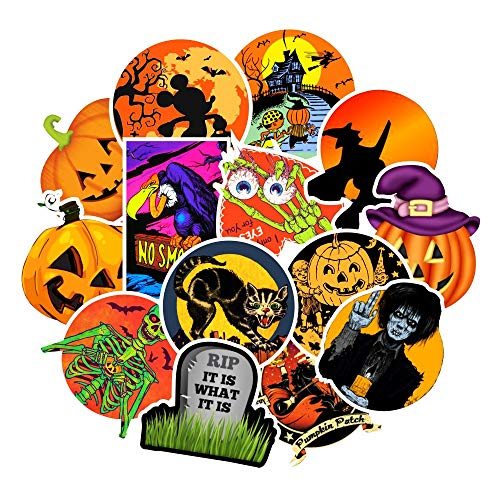 WOCAO Hand Drawing Watercolor Halloween Eve Decoration Notebook Planner Scrapbooking, Diy Paper Sticker 50 Pcs