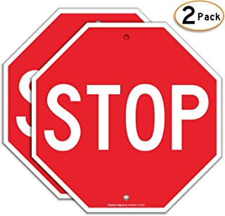 Faittoo Stop Sign (2 Pack), Street Slow Warning Reflective Signs, 12 x 12 Inches Octagon.040 Rust Free Aluminum, UV Protected and Waterproof, Weather Resistant, Durable Ink, Easy to Mount