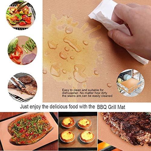 YONGCHY 5 Pièces Heat Antiadhésifs BBQ Mat Rapide Hot Copper Résistant Easy Clean Grill Mat Feuille De Cuisson Feuille Portable Barbecue Outil,340mm*240mm*0.2mm 340mm*240mm*0.25mm