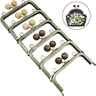 GuoFa 6pcs Clutch Coin Purse Frame Kiss Clasp Lock, Metal DIY Bag Frames Lace Pattern Wooden Ancient Sandalwood Beads Purse Frames for Women Girls 4.9inch Bronze