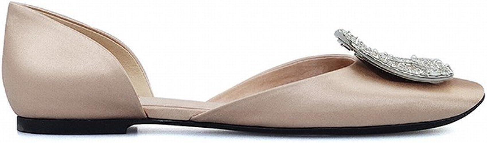 DHG Diahommet Creux Sauvage Boucle Tempérament Bouche Ronde Bouche Peu Profonde Chaussures Plates,Ré,36