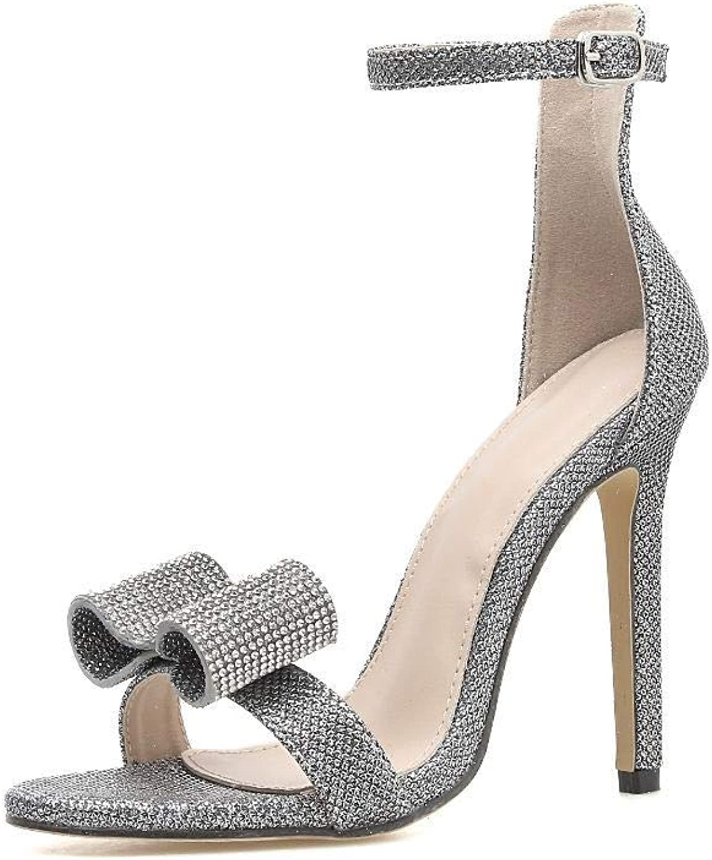 FELICIOO Frauen High Heels Sandalen sexy Strass großen großen großen Bogen High Heels (Farbe   Silber, Größe   39)  255c11