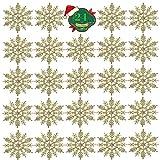 *KATELUO 24 Peces d'Adorns nadalencs amb Flocs de Neu, Adorns nadalencs, Adorns Penjants amb Flocs de Neu, Adorns nadalencs per a Festes al jardí i Noces (Daurat)