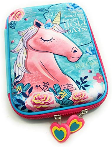 FunBlast Multipurpose Zipper Stylish Unicorn Print Large Capacity Pencil Case, Pen & Pencil Pouch Bag Case for School...