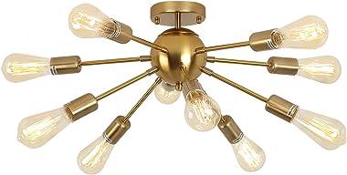 Candelabro Sputnik de 10 luces, latón, color propio, semi empotrado, lámpara de techo, iluminación colgante de mediados de si