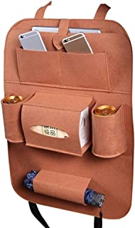 Back Seat Car Organizer with Tissue Holder, Hamkaw Multi-Pocket Kick Mat Seat Back Protector, Foldable Travel Storage Bag Holder for Family Road Trip Accessories