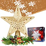AMZLIFE Christmas Tree Topper Lighted Star Tree Topper with LED Rotating Snowflake Projector Lights,3D Hollow Golden Star Snowflake Tree Topper for Xmas Tree Decorations(Golden)