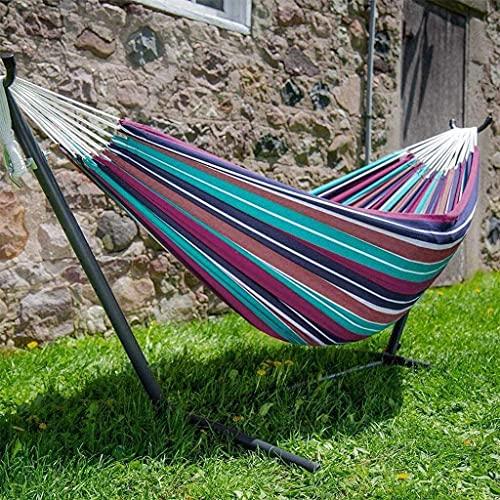 LYMUP Hamacas, hamaca cómoda con barra separadora doble/individual para jardín, cama de dormir, portátil, para interior y exterior, camping, jardín, silla colgante cómoda