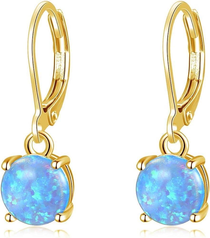 CiNily Round-Cut Opal Dangle Earrings, Green Fire Opal Rhodium Plated Women Jewelry Leverback Gemstone Drop Earrings