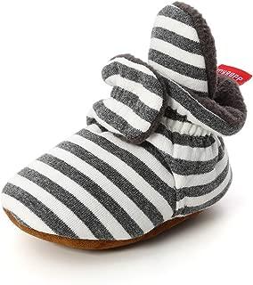 RVROVIC Baby Boys Girls Cozy Fleece Booties Newborn Infant Cotton Boots Warm Winter Socks Slippers Crib Shoes (12-18 Months Toddler, Stripe DK-Grey)