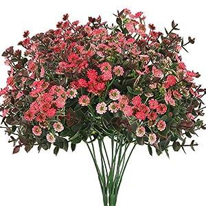 XHXSTORE 3pcs Flores Artificiales Rojas Gypsophila Pequeñas con Hoja Eucalipto Artificial Arbusto Plastico para Jarrones…