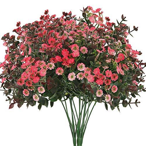 XHXSTORE 4pcs Künstliche Blumen Gänseblümchen Kunstblumen Eukalyptus Künstlich Kunstpflanzen Plastikblumen Unechte Blumen Deko für Balkon Garten Innen Topf Vase Dekoration