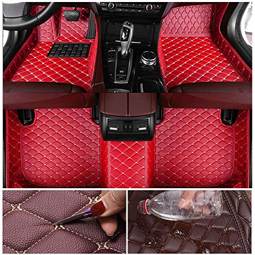 Custom Car Floor Mats for Toyota Camry XV40 2006-2011 Leather Custom Fit All-Weather Protection Floor Liners Waterproof Foot Pad Carpets red