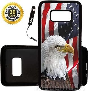 Custom Galaxy Note 8 Case (Bald Eagle American Flag) Edge-to-Edge Rubber Black Cover Ultra Slim | Lightweight | Includes Free Mini Stylus Pen by Innosub