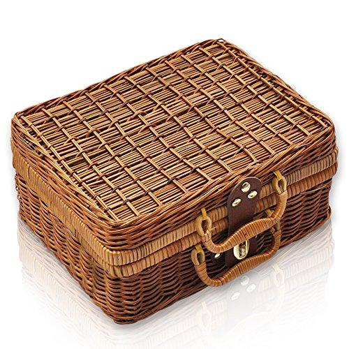 QTKJ Cesta de mimbre para picnic, caja de almacenamiento con asas, patrón de cuadros con forro de sauce, caja de almuerzo, correa de piel, cierre de metal, caja de accesorios para maleta