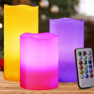 HOME MOST Set of 3 Flickering Real Wax Flameless LED Pillar Candles with Remote 3x4 3x5 3x6 Multi Colored - Unscented Battery Operated Pillar Candles Bulk - Color Changing Candles HM3
