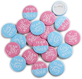 "Team Girl & Team Boy Button Pins - Gender Reveal Party Games Baby Shower Party Ideas, Wear Your Guess, Girl or Boy, He or She Pin-Back Buttons (Set of 20, Round 1.5"", Pink & Blue)"