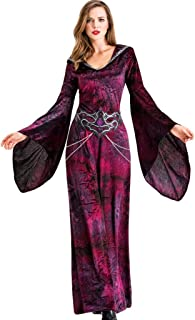 Women's Casual Long Sleeve Vintage Retro Gothic Hooded Dress Long Gown Dresses (S-5XL)