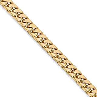 5mm, 14k Yellow Gold, Solid Miami Cuban (Curb) Chain Necklace