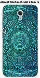 Coque Alcatel OneTouch Idol 2 Mini S Design Mandala Rosace Bleu & Noir