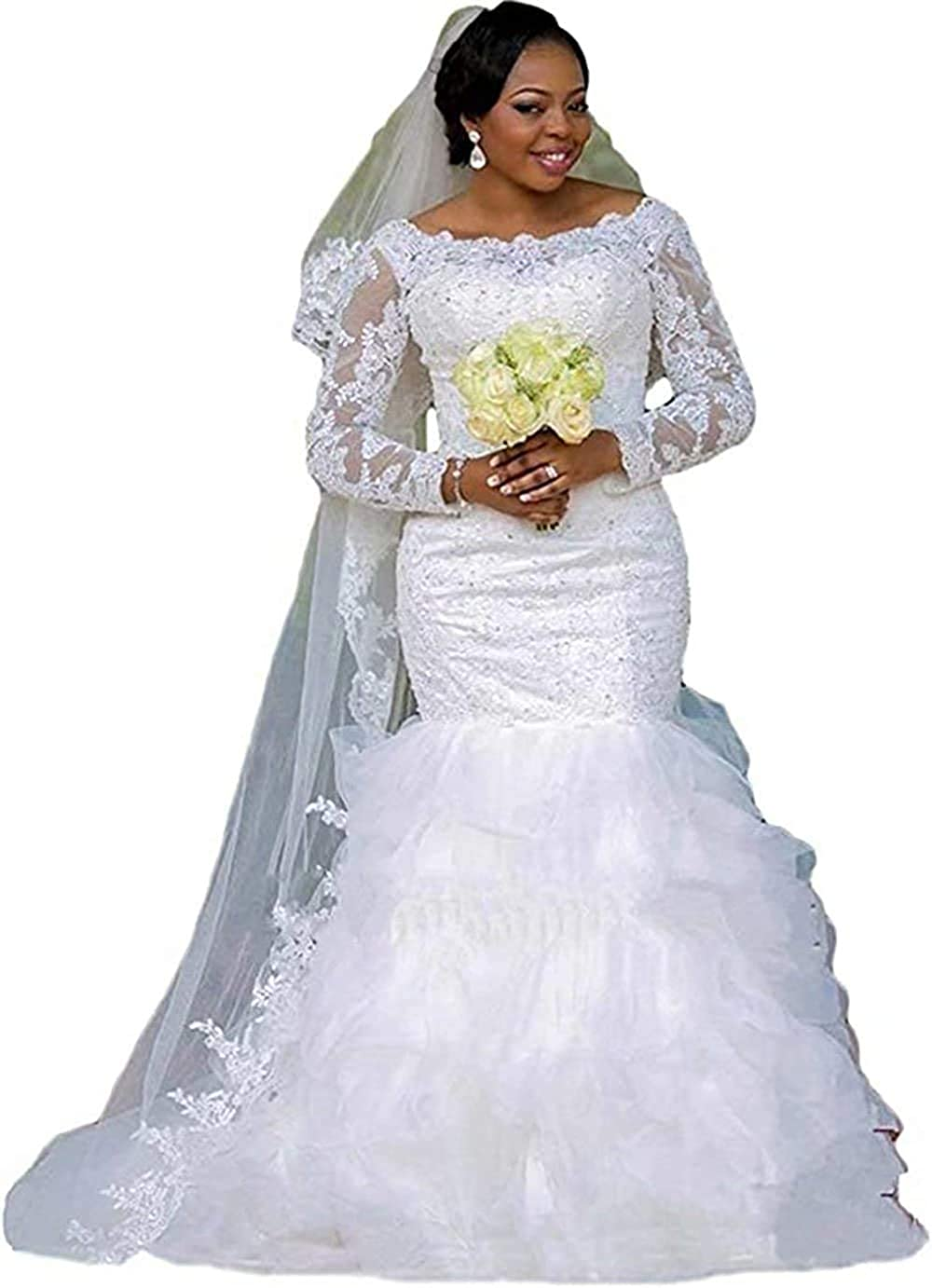 iluckin Plus Size Women's Long Sleeve Appliques Mermaid Lace Wedding Dress with Train for Bride Bridal Gown