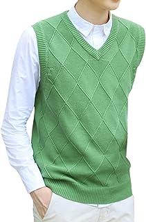 Yasong Men V Neck Sleeveless Sweater Knitwear Diamond Argyle Knitted Tank Tops Waistcoat Business Gentleman Vest