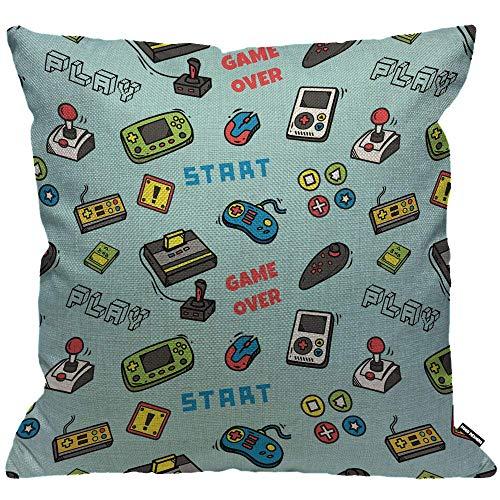 Funda de cojín para videojuegos, diseño de videojuegos, funda de almohada decorativa para el hogar para hombres/mujeres, sala de estar, dormitorio, sofá, silla, 45 x 45 cm