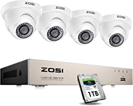 ZOSI Security Cameras System with 1TB Hard Drive,H.265+ 5MP Lite 8Channel HD-TVI DVR Recorder and 4pcs 1080P HD 1920TVL In...
