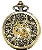 SEWOR Japón Koi Ver a través de mecánica Mano Viento Reloj de Bolsillo Lucky Regalo...