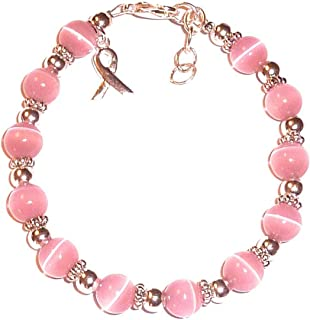 Hidden Hollow Beads Pink Breast and Multi Cancer Awareness Bracelet, Great for Fundraising, 7 ¾ in Size, 8mm