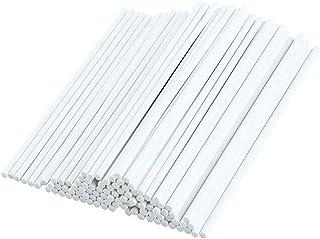 Lot de 100 bâtons de sucettes en papier pour la fabrication de sucettes amusantes, blanc