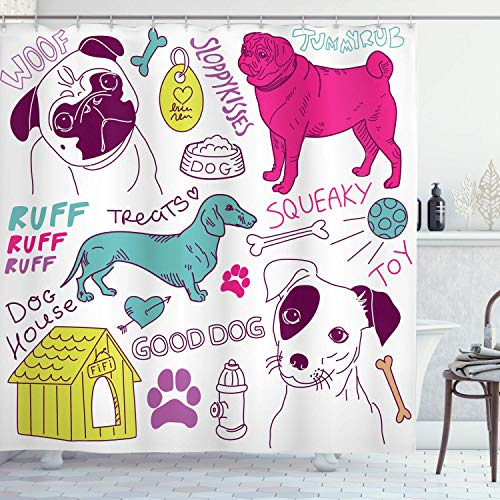 Dog Lover Shower Curtain, Love Dogs! Doodles Footprint Food House Kennel Bowl Ball Toy Play Time, Home Decor Polyester Fabric Waterproof Bath Room Curtains Set with 12 Hooks, Fuchsia Teal