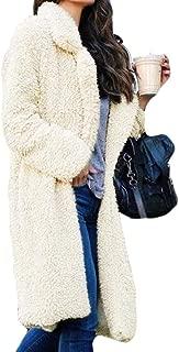 Women Fuzzy Fleece Lapel Open Front Long Cardigan Coat Faux Fur Warm Overcoat