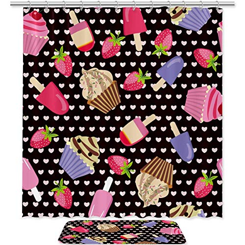 TIZORAX Kuchen EIS & Erdbeer Bad Duschvorhang Set mit rutschfesten Bad Teppiche Bodenmatte Home Decoration
