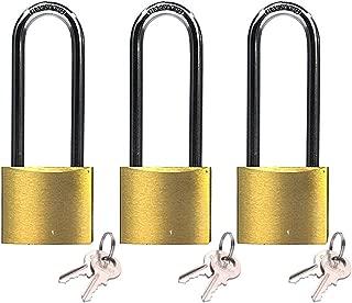 Keyed Alike Solid Brass Padock 1-9/16-inch(40mm) Pin Tumbler Padlock Long Shackle with 2Steel Keys of Each Padlock 3packs