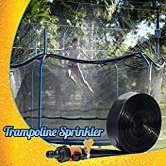 SUPREME QUALITY: This trampoline sprinkler is constructed from HEAVY DUTY PE that has been thoroughly tested and will STAND THE TEST of TIME PERIOD! Upgraded hose connector for quick connection. And there is no water leakage at the joint. Adjustable ...