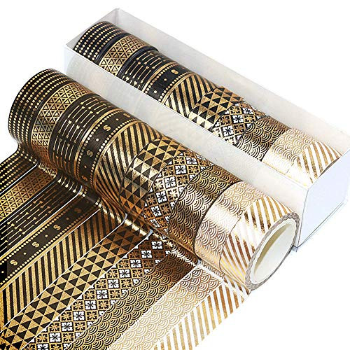 Sangchi 10 Roll Washi Tape Set, 5M Deko-Gold Folie Washi Tape Masking Tape Dekorative Klebeband für Scrapbooking DIY Handwerk
