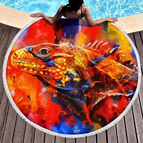 Hothotvery Toallas de playa redondas con borlas abstractas de lagarto, impresión de felpa, sin arena, toallas de baño para niños, color blanco, 150 cm