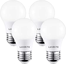 Luxrite A15 LED Light Bulb, 40W Equivalent, 3000K Warm White, Dimmable, 450LM, Medium Base E26 LED Light Bulb, Enclosed Fixture Rated, UL Listed - Perfect for Ceiling Fans and Home Lighting (4 Pack)