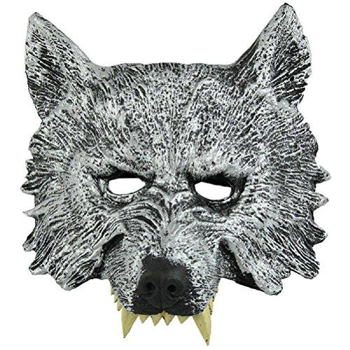 LEORX Masque de tête de loup gris pour cosplay Halloween mascarade