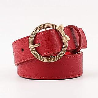 Kainuoo ラウンドバックル付きジーンズのための女性の革のドレスベルト (Color : Red)