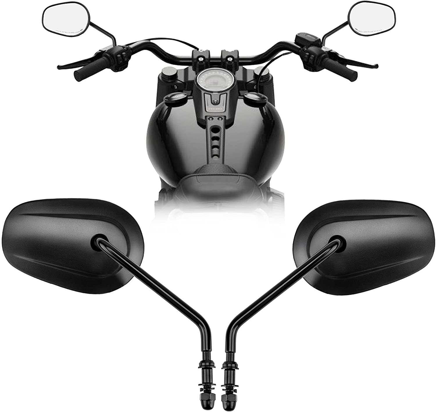 Max 47% OFF Sportster Mirrors Long-Stem Side Motorcycle Rearvi Max 73% OFF Black