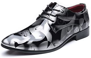 AiHua Huang Men's Burnished Smooth Abstract Painting PU Leather Shoes Classic Lace Up Loafers Lined Business Oxfords (Extra Large) (Color : Gray, Size : 7.5 UK)