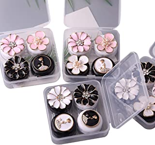 JUSTDOLIFE 2PCS Portable Contact Lens Box Contact Lens Case Cute Flower Decor Contact Lens Holder
