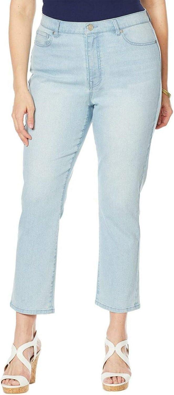 DG2 by Diane Gilman Women's Plus Size Classic Pinstripe Crop Jeans