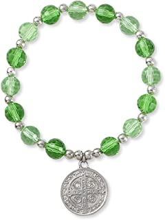 Catholic Religious Wear Saint Benedict Silver Tone Elasticated Medal Bracelet With Green Glass Crystal Beads