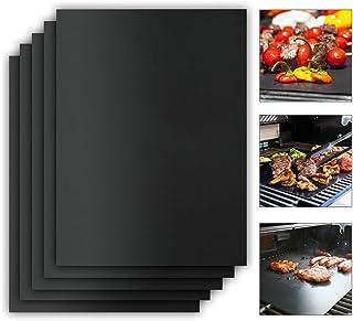 Karmit Grillmatte - 5er Set Antihaft - Extra Dick - Wiederverwendbar - Hochwertige Grillmatte für Gasgrill und Holzkohle - BBQ Matte als Grillrost Auflage - Perfekte Backunterlage