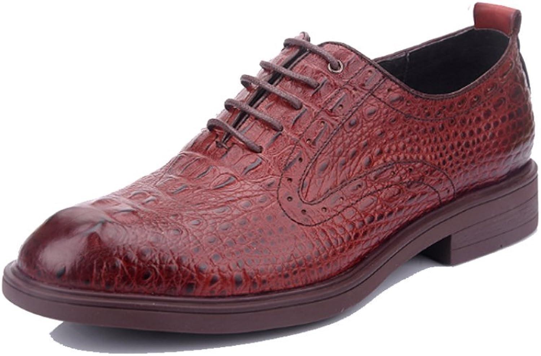 ASJUNQ Men's Business shoes Driving shoes,Red-39
