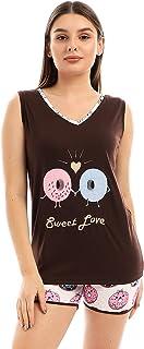 Donuts Sleeveless Pajama Set - Brown & Off